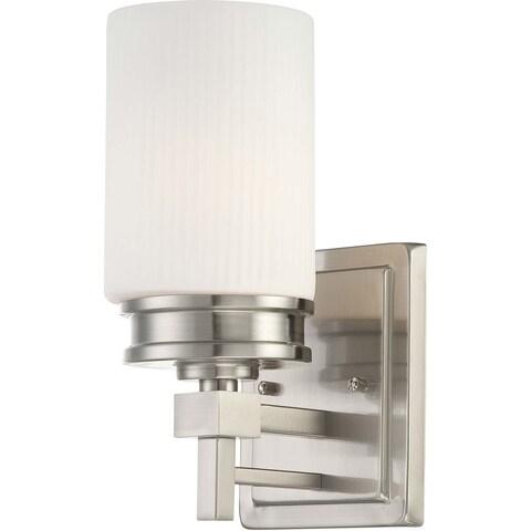 Wright Nickel and Satin White Glass 1-Light Vanity Fixture