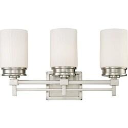 Wright Nickel w/ Satin White Glass 3-Light Vanity Fixture
