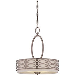 Harlow Bronze and Khaki Fabric Shade 3-Light Pendant