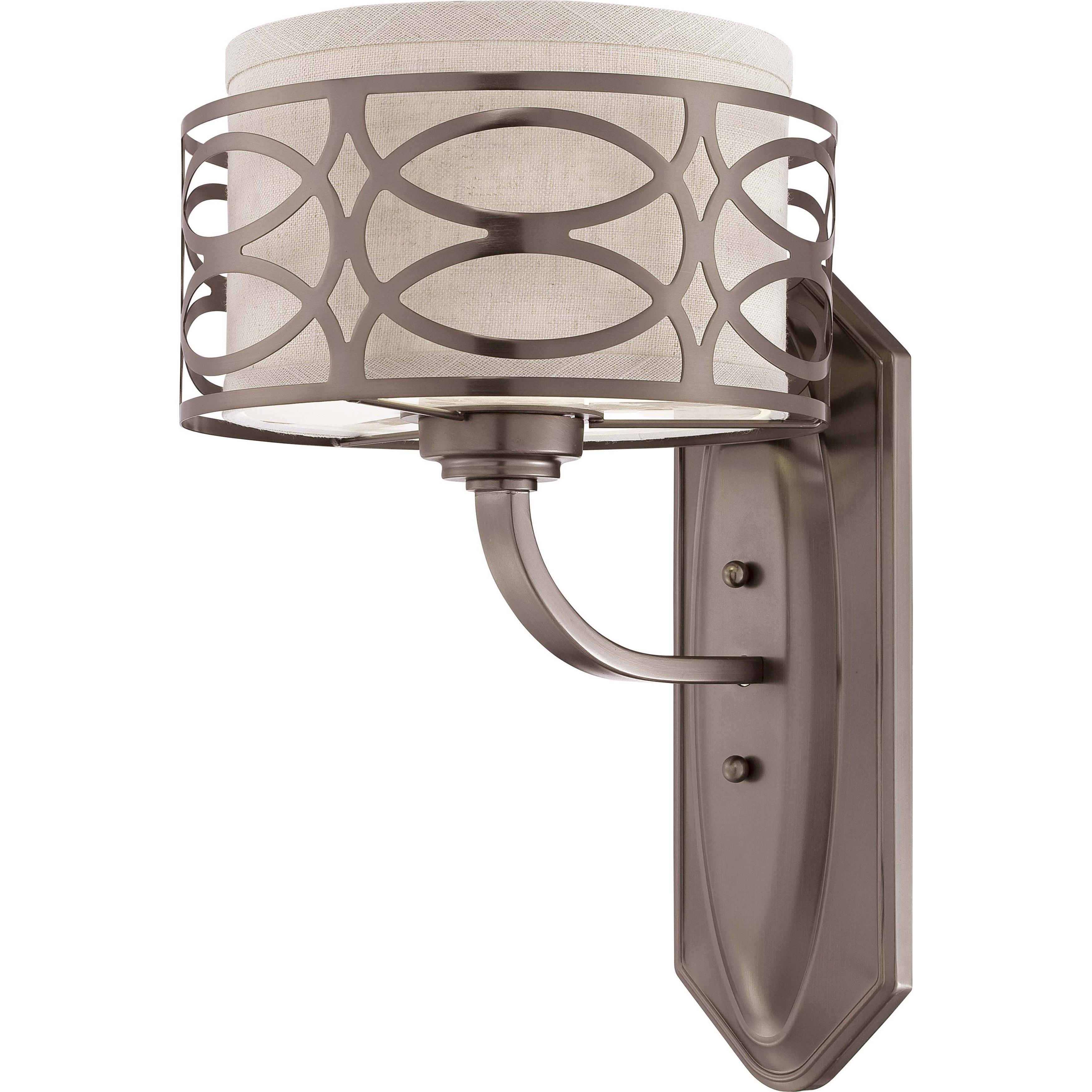 Harlow Bronze and Khaki Fabric Shade 1-Light Vanity Fixture