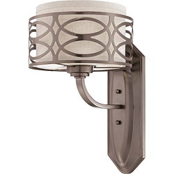 Harlow Bronze and Khaki Fabric Shade 1-Light Vanity Fixture