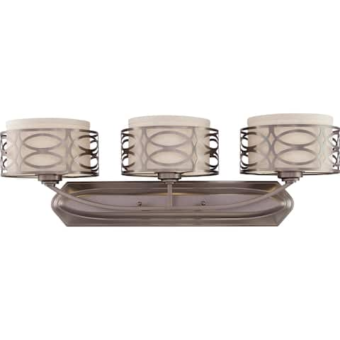 Harlow Bronze and Khaki Fabric Shades 3-Light Vanity Fixture