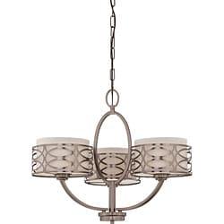 Harlow Bronze and Khaki Fabric Shades 3-Light Chandelier