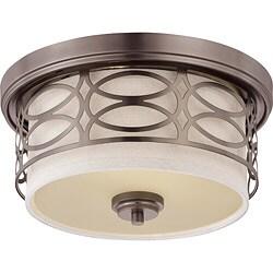 Harlow Bronze w/ Khaki Fabric Shade 2-Light Flush Dome Fixture