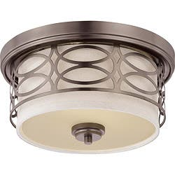 Nuvo lighting flush mount lighting for less overstock harlow bronze w khaki fabric shade 2 light flush dome fixture mozeypictures Gallery