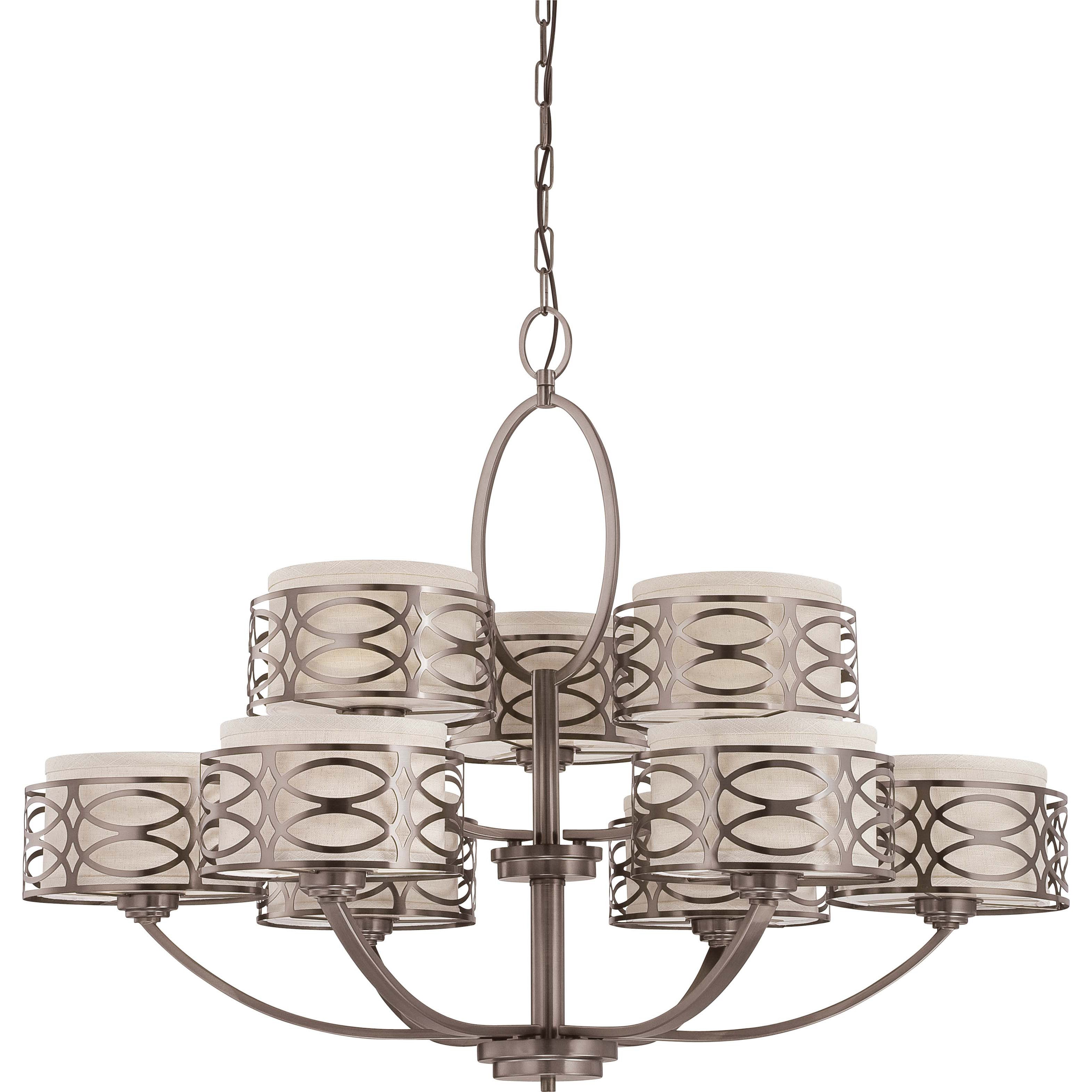 Harlow Bronze all Khaki Fabric Shades 9-Light Chandelier