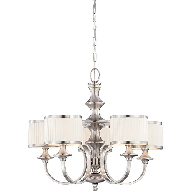 Candice nickel and flat pleated white shades 5 light chandelier free shipping today - White chandelier with shades ...