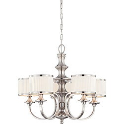 Candice Nickel and Flat Pleated White Shades 5-Light Chandelier