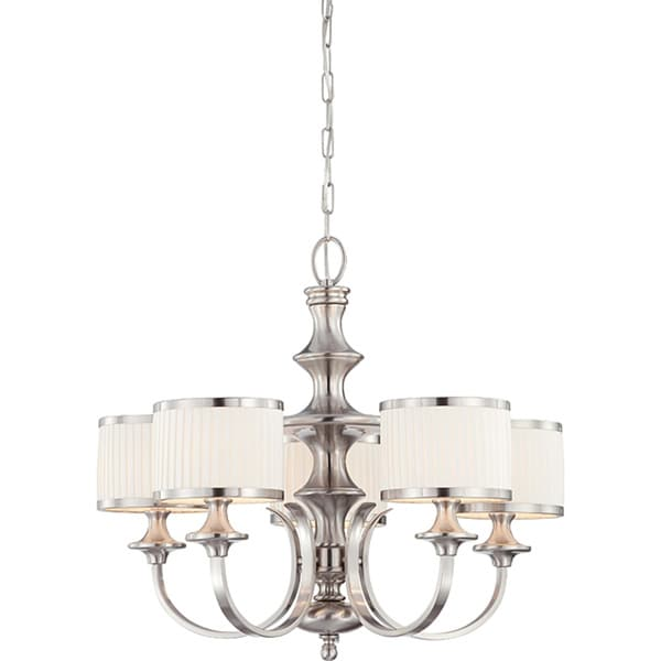 Candice Nickel and Flat Pleated White Shades 5-Light Chandelier ...