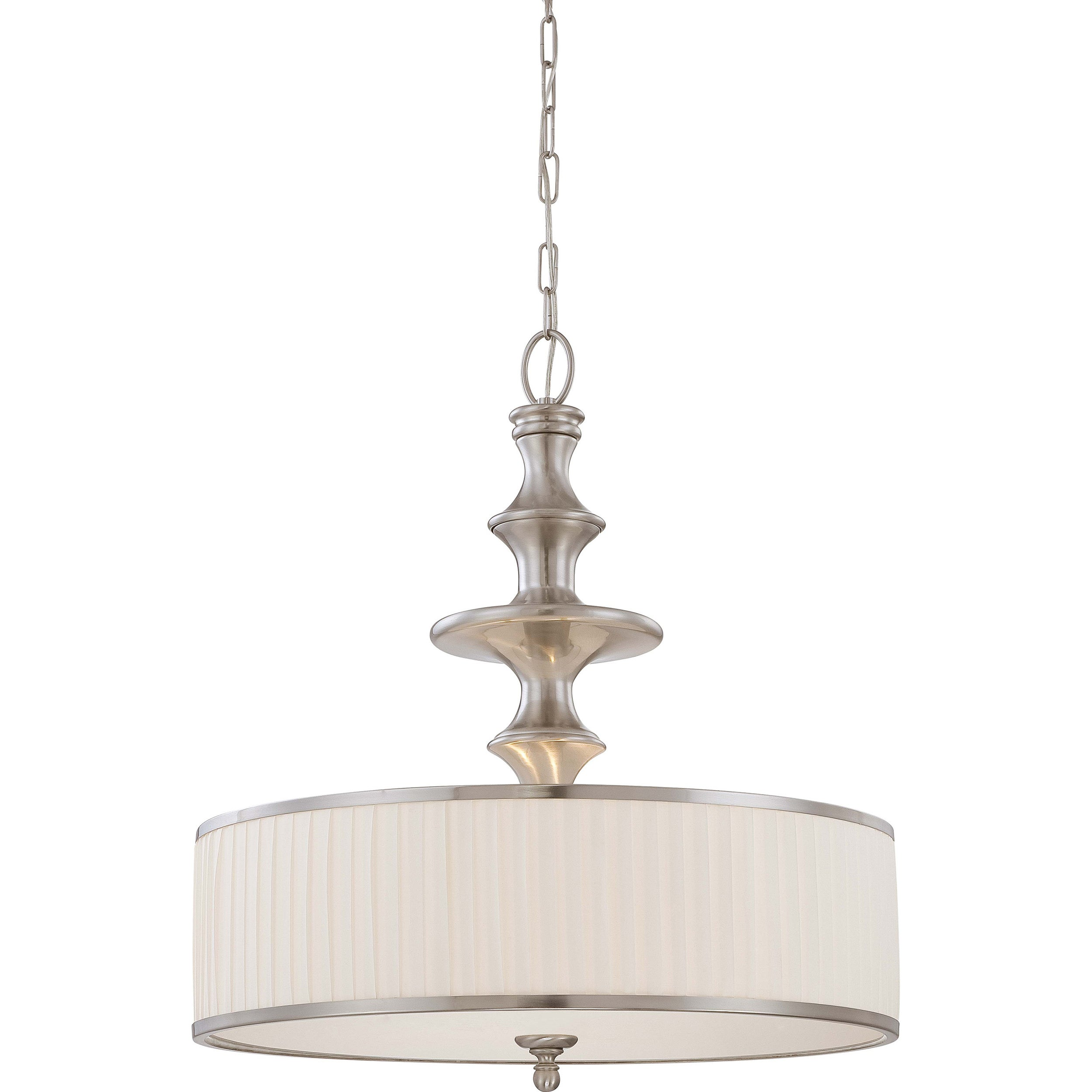 Candice Nickel and Flat Pleated White Shade 3-Light Pendant - Thumbnail 0