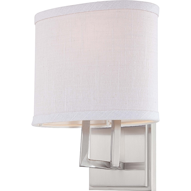 Gemini Nickel w/ Slate Gray Fabric Shade 1-Light Vanity Fixture