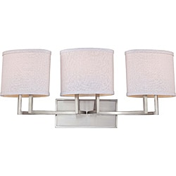 Gemini Nickel and Slate Gray Fabric Shades 3-Light Vanity Fixture