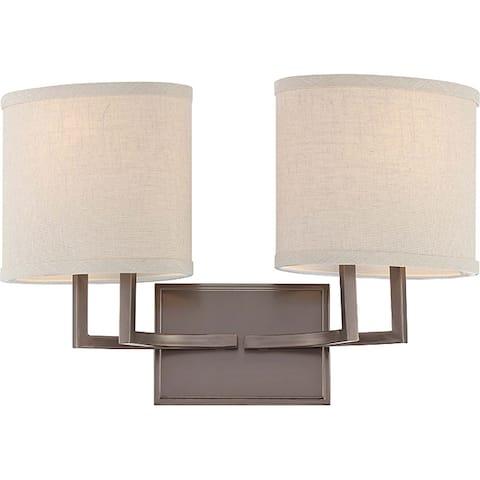 Gemin Bronze and Khaki Fabric Shadesi 2-Light Vanity Fixture