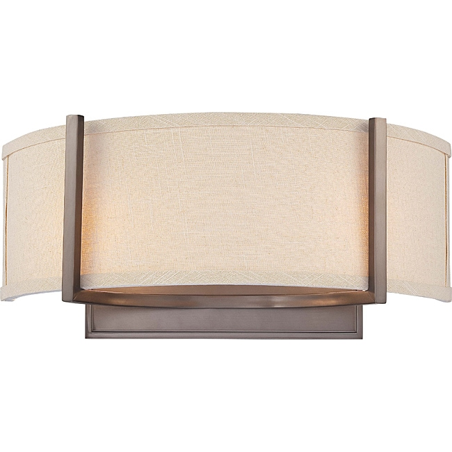 Gemini bronze and khaki fabric shade 2 light wall sconce free gemini bronze and khaki fabric shade 2 light wall sconce aloadofball Image collections