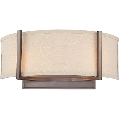 Gemini Bronze and Khaki Fabric Shade 2-Light Wall Sconce