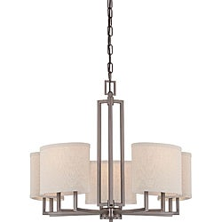 Gemini Bronze and Khaki Fabric Shades 5-Light Chandelier