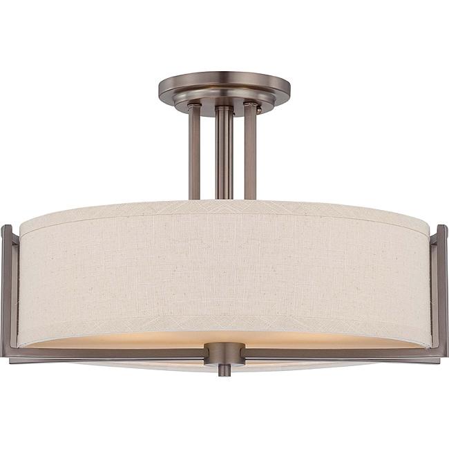 Gemini Bronze and Khaki Fabric Shade 3-Light Semi Flush Fixture