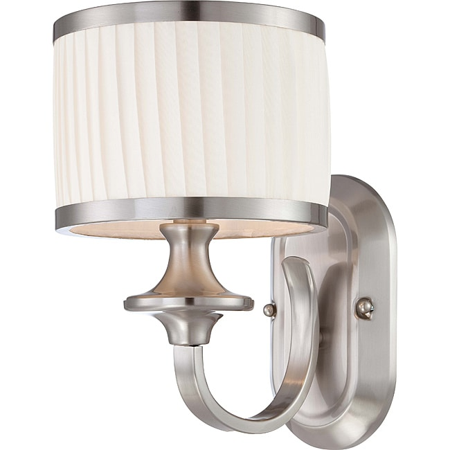 Candice Nickel and Flat Pleated White Shade 1-Light Vanity Fixture