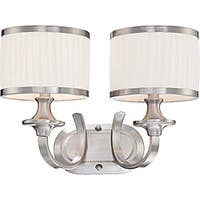 Candice Nickel and Flat Pleated White Shades 2-Light Vanity Fixture