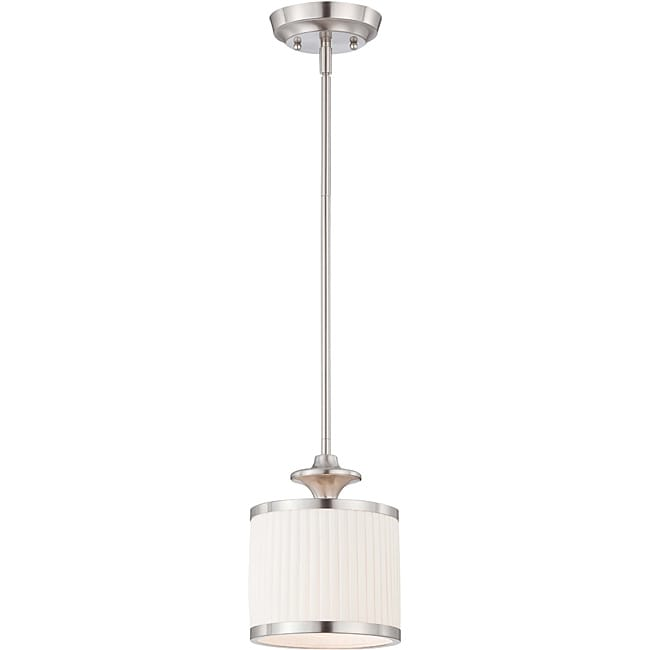 Candice Nickel and Flat Pleated White Shade 1-Light Mini Pendant
