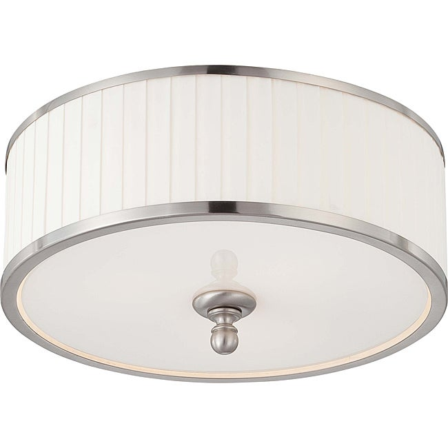Candice Nickel and Flat Pleated White Shade 3-Light Flush Dome Fixture - Thumbnail 0