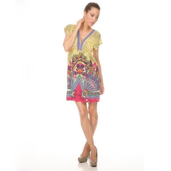 Women's White Mark 'Milano' Yellow/Pink Peacock Sundress