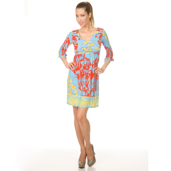 White Mark 'Venezia' Women's Turquoise/Orange Day Dress