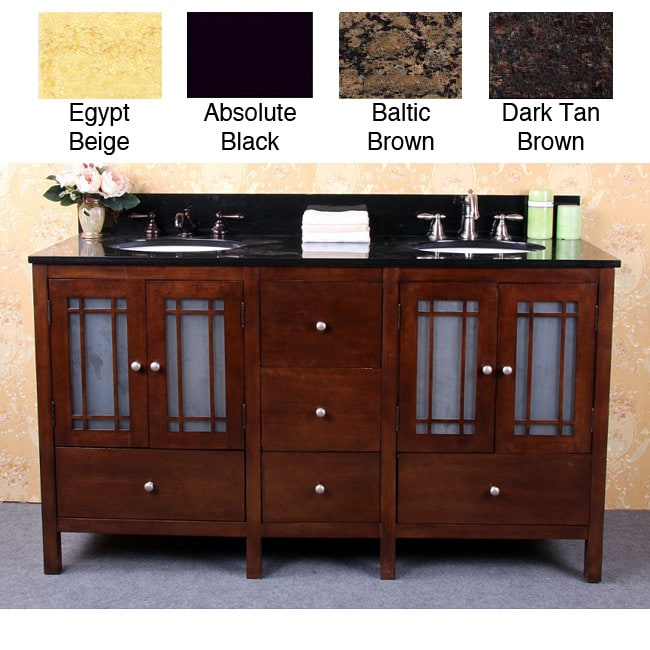 granite top 60-inch double sink bathroom vanity - free shipping