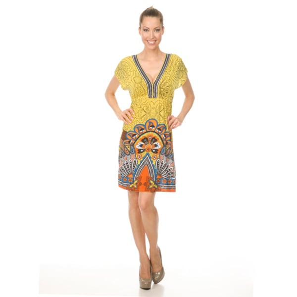 Women's White Mark 'Milano' Yellow/Orange Peacock Sundress