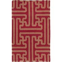 Hand-woven Winchester Brick Red Wool Area Rug - 2' x 3'