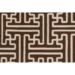 Hand-woven Scone Brown Wool Rug (2' x 3') - Thumbnail 2