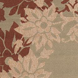 Greyville Russet Floral Border Indoor/Outdoor Rug (5'3 x 7'6)