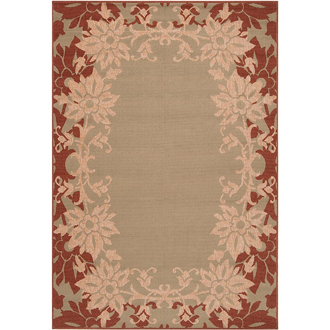 Parana Russet Floral Border Indoor/Outdoor Rug (7'6 x 10'9) - Thumbnail 0