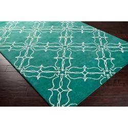Thumbnail 2, Aimee Wilder Hand-tufted Granada Emerald Green Geometric Trellis Wool Rug (2' x 3'). Changes active main hero.