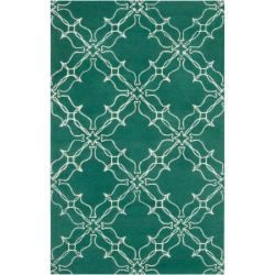 Thumbnail 1, Aimee Wilder Hand-tufted Granada Emerald Green Geometric Trellis Wool Rug (2' x 3').