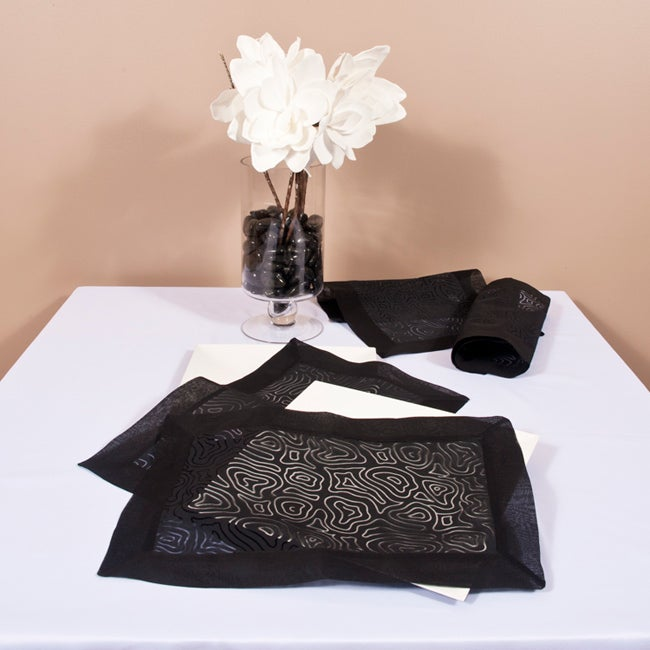Linea Collection Organdy Black Placemat/Napkin Set