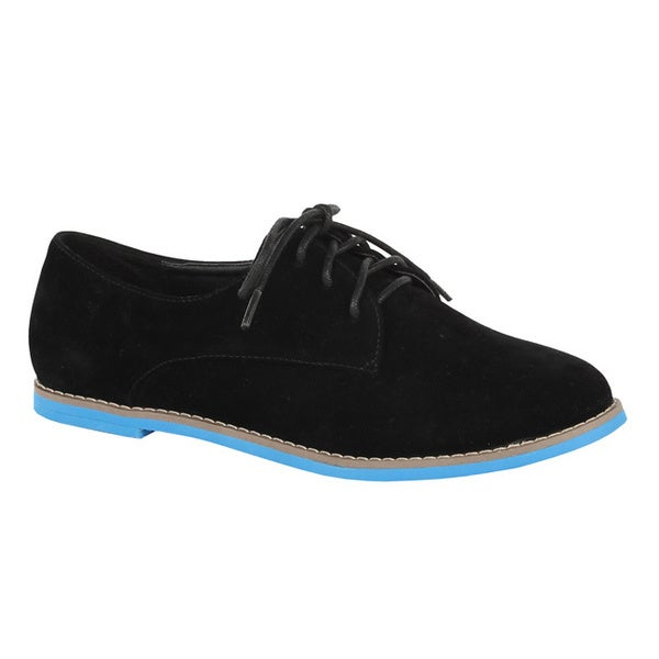 XICA by Beston Women's 'Joe-01' Black/ Turquoise Oxfords
