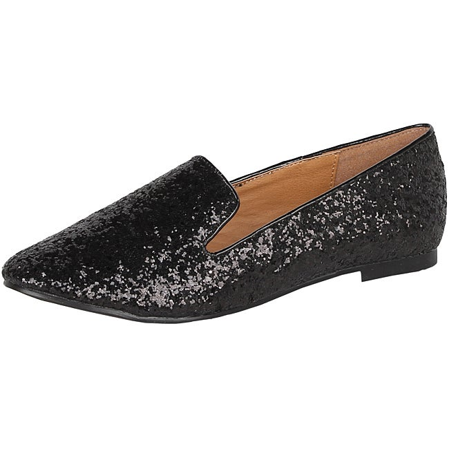 Modesta by Beston Women's 'Mika-02' Black Glitter Flats