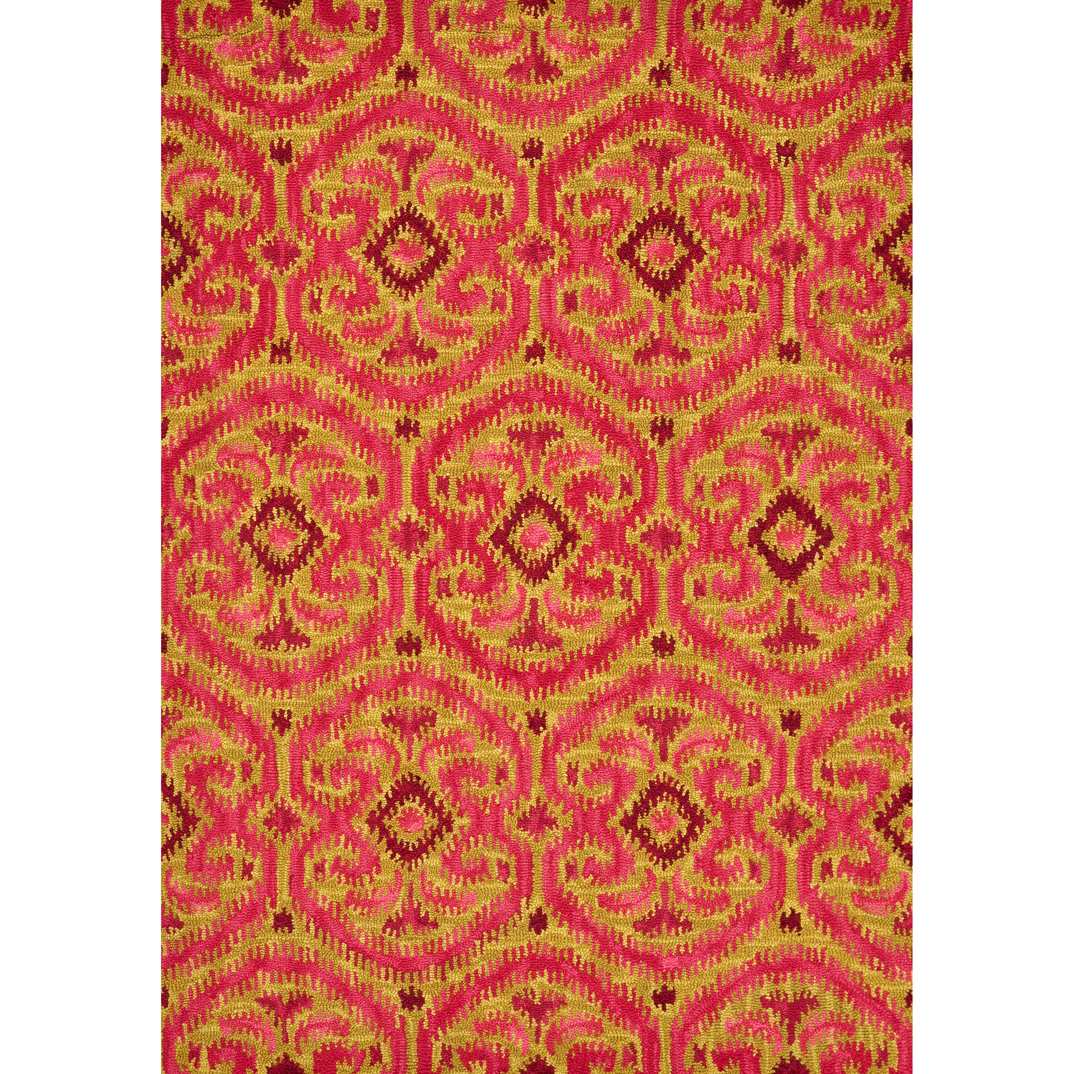 Hand-tufted Montague Gold/ Berry Wool Rug (3'6 x 5'6)