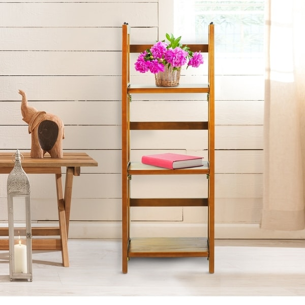 3 shelf folding 14 inch wide bookcase free shipping today 14496987. Black Bedroom Furniture Sets. Home Design Ideas