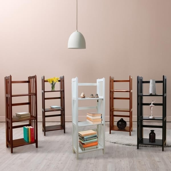 shop 3 shelf folding 14 inch wide bookcase free shipping today overstock 6986462. Black Bedroom Furniture Sets. Home Design Ideas