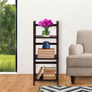 Folding 3-shelf Wood Bookcase