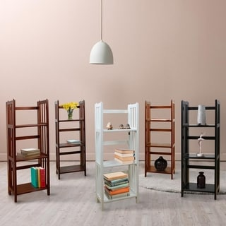 Folding 3-shelf Wood Bookcase