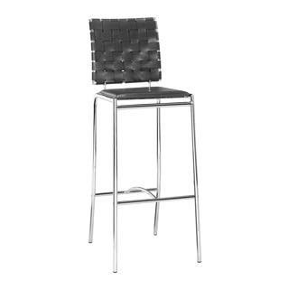 Modern Crisscross Woven Espresso Faux Leather And Chrome