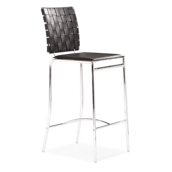 Modern Crisscross Woven Black Faux Leather and Chrome Counter Chairs (Set of 2)
