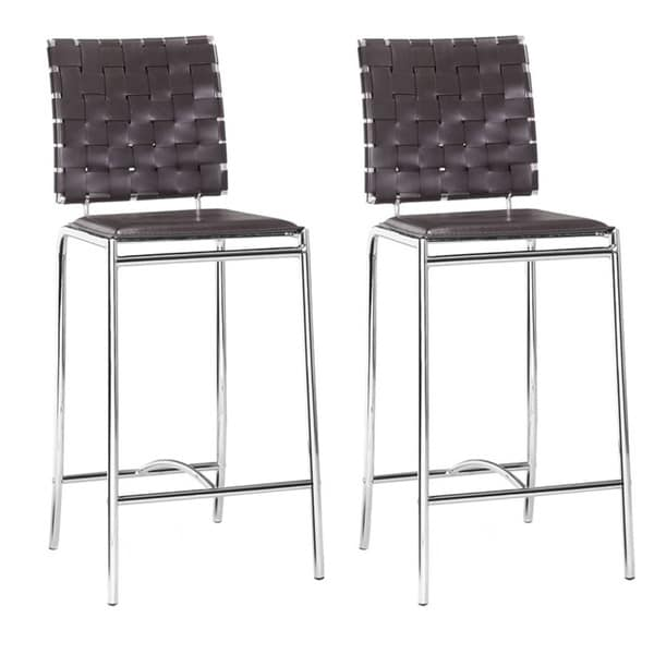 Modern Crisscross Woven Espresso Faux Leather and Chrome Counter Chairs (Set of 2)