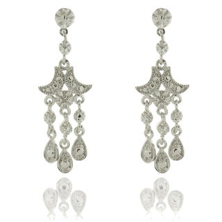 Finesque Silver Overlay Diamond Accent Chandelier Drop Earrings