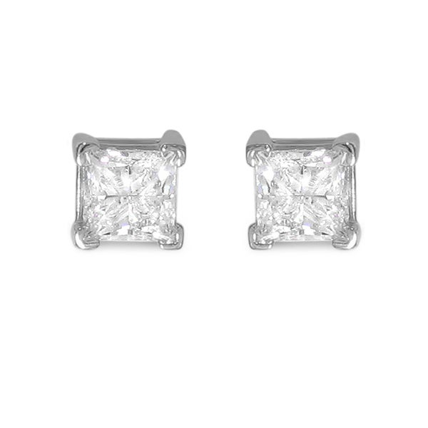Montebello 14k White Gold 3ct TDW Princess-cut Diamond Stud Earrings (I-J, I2)