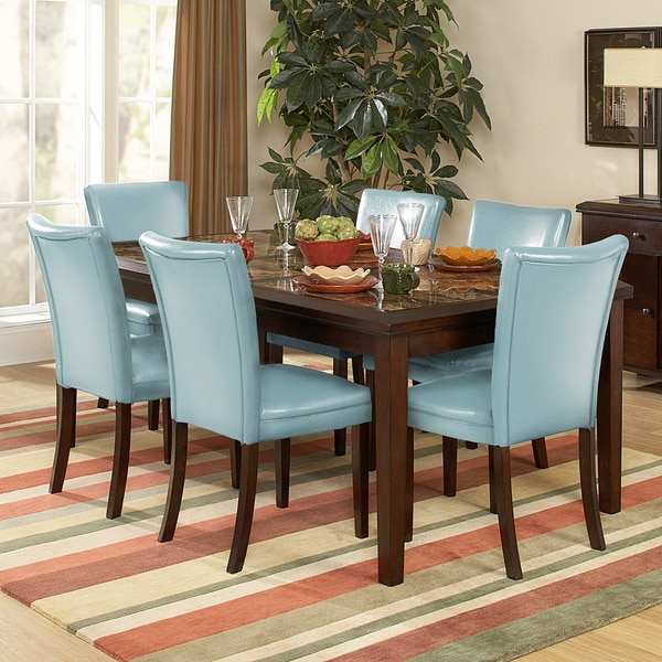 Estonia Dining Set with Sky Blue Chairs (Set of 7)