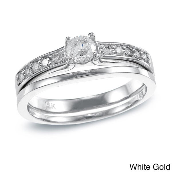 Auriya 14k Gold 1/2ct TDW Round Diamond Bridal Ring Set